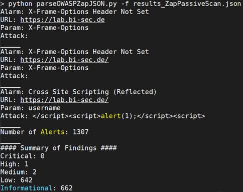 OWASP Zap - Auswertung